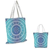 Ethnic non woven shopping bag Spiritual Ritual Symbol of Universe Cultural Center Point Balance Meditation Theme fruit shopping bag Light Blue. 16'x18'-13'