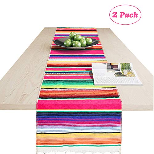 Angsen 2 Pack Mexican Table Runner 14 x 84 Inch Mexican Serape Table Runner for Mexican Party Wedding Decorations, Fringe Cotton Table Runner -