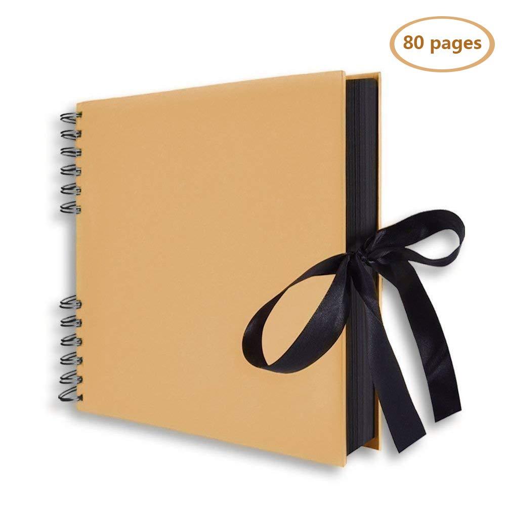 Kiwil Álbum de Fotos, Scrapbook, 80 Páginas Negras (40 hojas), Álbum Con Espiral, Ideal Para Papel Artesanal, Aniversario de Bricolaje, Boda, Regalo ...