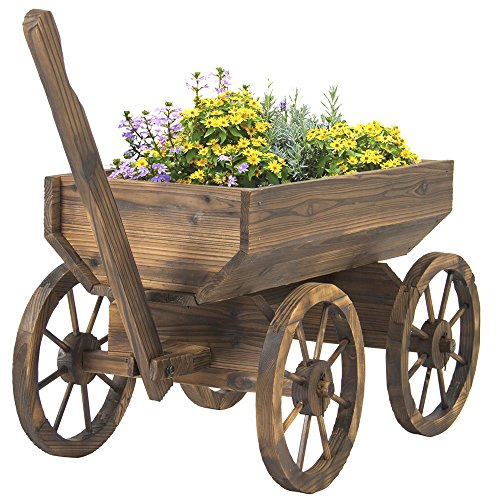 Vintage Garden Wood Wagon Flower Planter Pot Stand With Wheels Home Outdoor - Francisco Anchorage San
