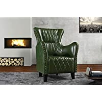 Upholstered Living Room Leather Armchair, Accent Chair with Nailheads (Green)