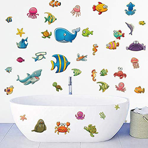 decalmile Under The Sea Fish Wall Stickers Ocean Under Water Wall Decals Kids Bedroom Baby Nursery Bathroom Decoration