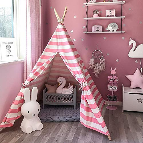 (GooGGiG 6 Ft Indian Play Tent Teepee Kids Playhouse Sleeping Dome Portable Carry Bag Pink)