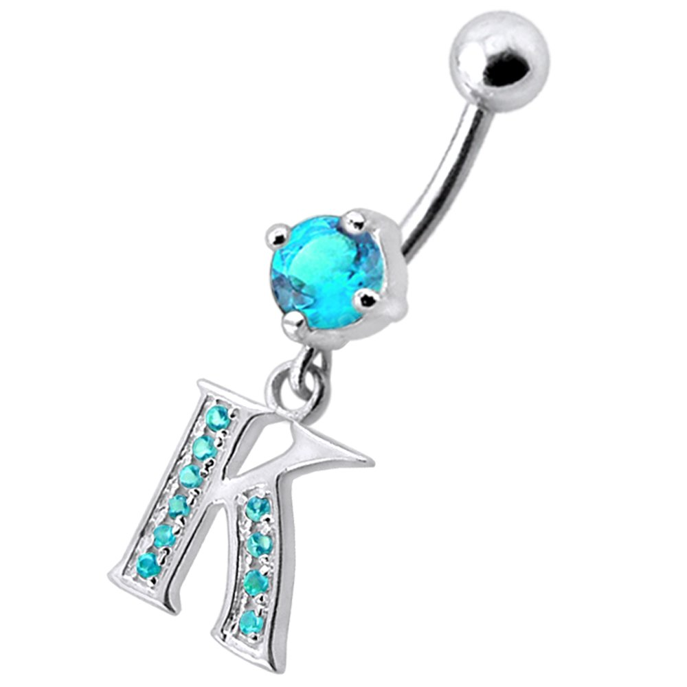 CZ Stone K Alphabet Dangling 925 Sterling Silver Belly Button Piercing Ring Jewelry