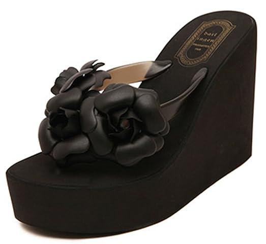 d3b2eed304e IDIFU Women s Boho Flowers Wedge Platform Flip Flops Sandy Thong Sandals  With Heels Black 4 B