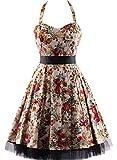 Search : OTEN Women's Vintage Polka Dot Halter Dress 1950s Floral Sping Retro Rockabilly Cocktail Swing Tea Dresses