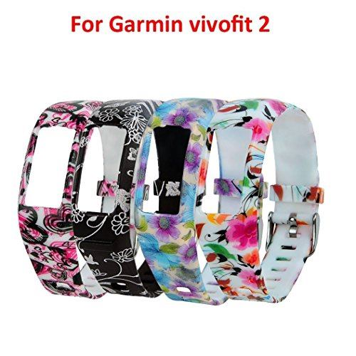 Tkasing for Garmin Vivofit 2 Bands Multi-Color Silicone Wristband Strap for Garmin Vivofit 2 Vivofit2 Replacement Band with Clasps Fitness Bands Suitable to (Pack of 4A)
