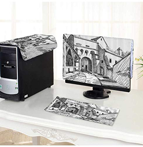 dust Cover for Computer 3 Pieces dieval Citadel Sketch House of Legendary Vampire Dracula Old Mystical Tales Work Suit Computer dust Cover -