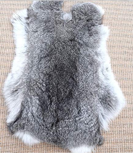 "Natural Tanned Rabbit Fur Hide (10"" by 12"" Rabbit Pelt with Sewing Quality Leather) (Natural Gray)"