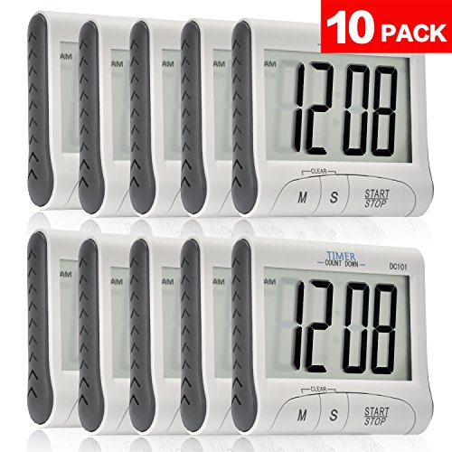Senbowe™ 10 Pack Digital Kitchen Timer/ Cooking Timer with Large Display Screen, Loud Sounding Alarm, Strong Magnetic Backing, Retractable Stand