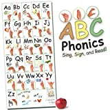 ABC Phonics: Sing, Sign, and Read! - Big ASL Vertical Wall Poster - 36 by 17 inches Wide - Laminated