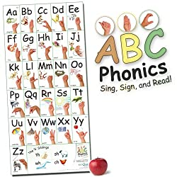 "ABC Phonics: Sing, Sign, and Read"" - BIG 17""x36"" ASL Wall Poster - (Vertical Version)"