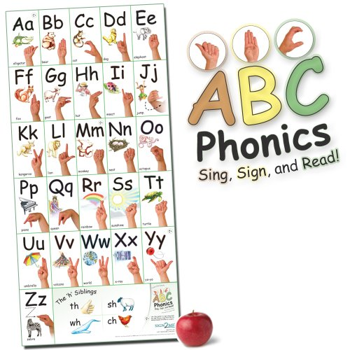 ABC Phonics: Sing, Sign, and Read! - Big ASL Vertical Wall Poster - 36 by 17 inches Wide - Laminated -