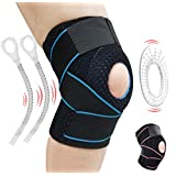 Knee Brace Knee Support for Meniscus Tear,Arthritis,ACL,LCL,MCL Injury Recovery,Running,Cycling,Basketball with Patella Stabilizer for Men Women with Adjustable Strapping & Breathable Knee Sleeve