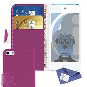 Apple de dispositivos iTALKonline con tan solo tocar 5th color negro y de cuero de la PU (5 G) de múltiples-función con protector de pantalla de rotuladores de crédito cubierta de la caja del organizador de utensilios de cocina con tapa y/de la tarjeta de visita dinero titular de la, compatible con Apple iPod Touch 5th Generation (5G)