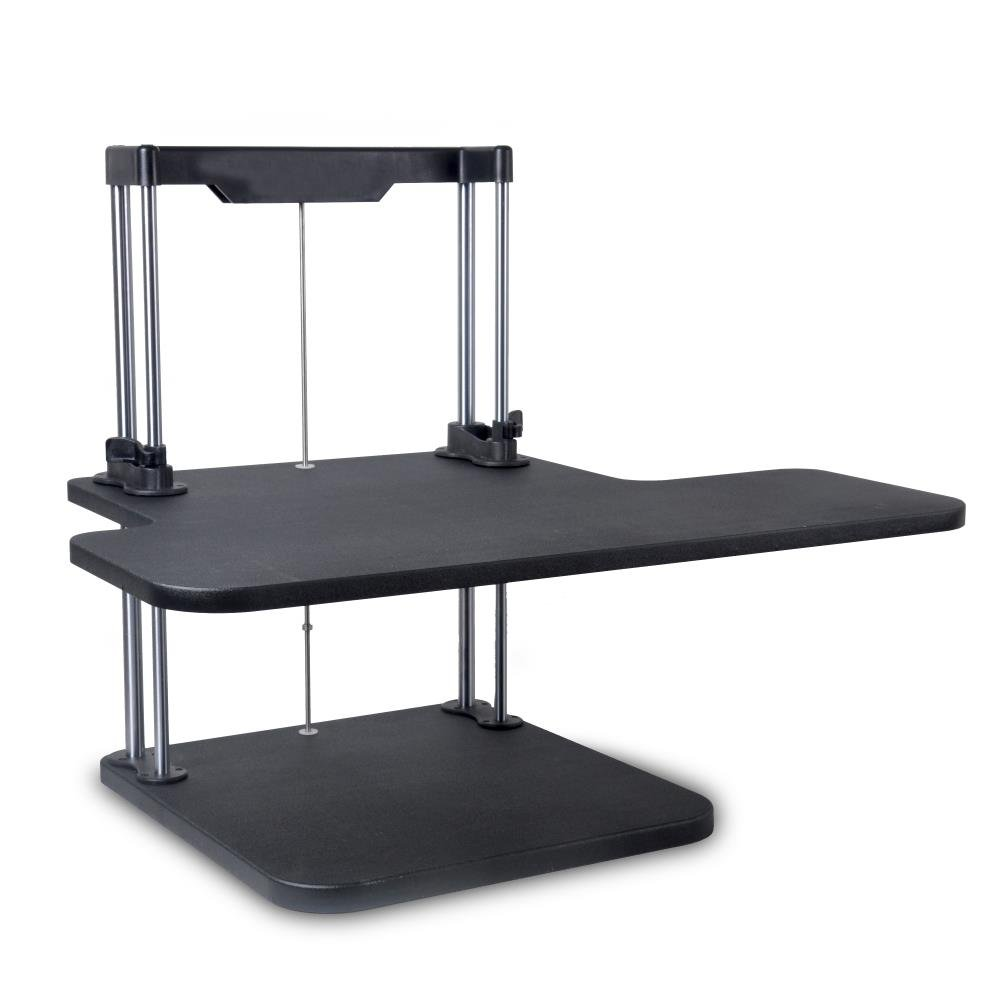 Pyle Sit Stand Desk | Height Adjustable Stand Up Desk | Computer / Laptop Stand Up Computer Workstation W/ 2 Adjustable Shelf Trays | Free Standing Desk - Black Finish (PSTNDDSK38)