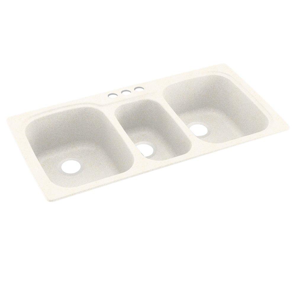 Swanstone KS04422TB.168-3 3-Hole Solid Surface Kitchen Sink, 44'' x 22'', Baby's Breath