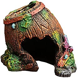 Goblin's Treasures Resin Broken Barrel Hide Hut, Spiders/Hermit Crabs/Comfy Space for Lizards,Organic Non-Toxic Hideout:Beautify Terrarium, Vivarium, Reptile Tank, Aquarium or Crabi
