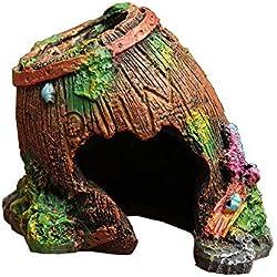 Goblin's Treasures Resin Broken Barrel Hide Hut, Spiders/Hermit crabs/Comfy space for Lizards,Organic Non-Toxic Hideout:Beautify Terrarium, Vivarium, Reptile tank, Aquarium or Crabi