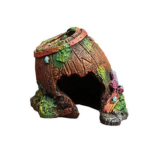 Goblin's Treasures Resin Broken Barrel Hide Hut, Spiders/Hermit crabs/Comfy space for Lizards,Organic Non-Toxic Hideout:Beautify Terrarium, Vivarium, Reptile tank, Aquarium or - Hut Desert