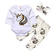 Mikrdoo Baby Clothes Set Long Sleeve Bodysuit White Tops Unicorn Printed Pants and Headband Outfits (12-18 Months)