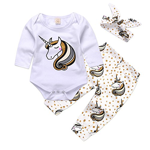 Mikrdoo Baby Clothes Set Long Sleeve Bodysuit White Tops Unicorn Printed Pants and Headband Outfits (0-6 Months)