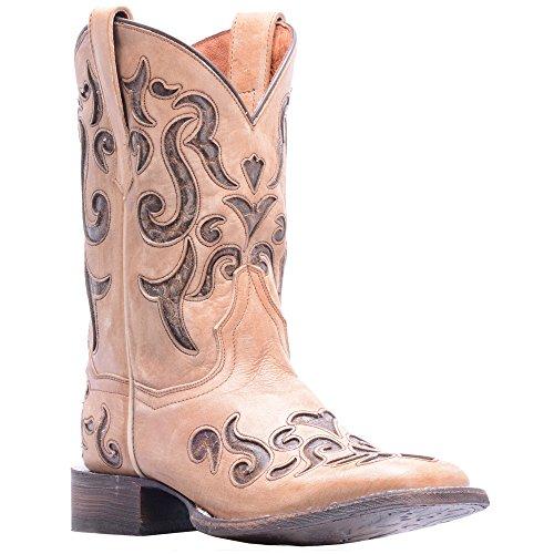 Dan Post Womens Bone Cowboy Boots Leather Cowboy Boots Square Toe 7.5 (Dan Post Pull)