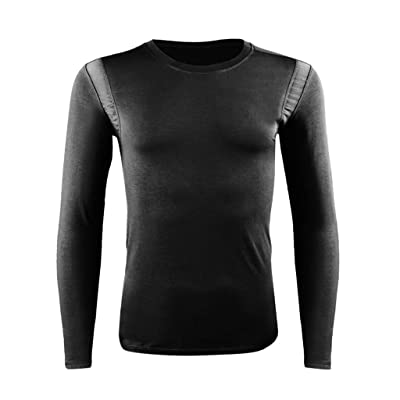 Men's Thermal Underwear Set, Compression Base Layer Sports Long Johns Fleece Lined Winter Gear Running Skiing at Men's Clothing store