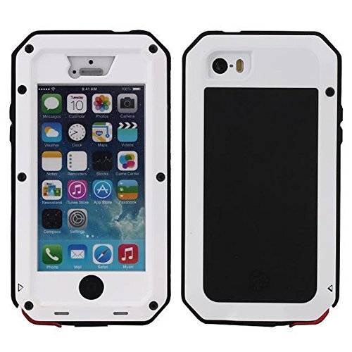 iPhone 4 4S Case,Waterproof Shockproof Dust Dirt Proof Aluminum Metal Case Cover for Apple iPhone 4 4S (White)
