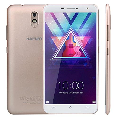 Hafury Umax Smartphone ohne Vertrag 6 Zoll HD Touch-Dispaly mit 4500 mAh Akku, 2GB Ram+16GB interner Speicher, Quad-Core Prozessor, Android 7.0, Dual-SIM, 3G,5MP Frontkamera 13MP Hauptkamera, IPS. 2.5D gebogenes Display, WIFI, GPS