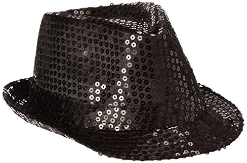 Jacobson Hat Company Women's Sequin Fedora, Black,