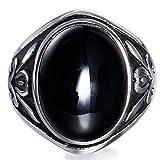 BOHO Men's Gothic Biker Casting Stainless Steel Vintage Large Black Agate Stone Ring Punk Rock Size 10