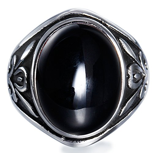 BOHO Men's Gothic Biker Casting Stainless Steel Vintage Large Black Agate Stone Ring Punk Rock Size (10 Stone Ring)