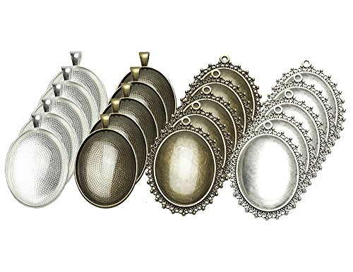 Glass Oval Necklace - 20 Counts Oval Bezels Pendant Trays with 20 Counts Glass Cabochon Round Dome Tiles for Jewelry Making, 40 Counts by Shxstore