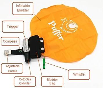 Puffer portátil dispositivo de rescate portátil flotador muñequera con CO2 cilindro hinchable gasbag Self-Rescue dispositivo de natación para adultos niños ...