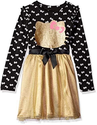 Girls Embellished - Hello Kitty Big Girls Embellished Tutu Dress, Black/Gold 8
