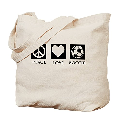 CafePress Peace Love Soccer–Borsa Tote