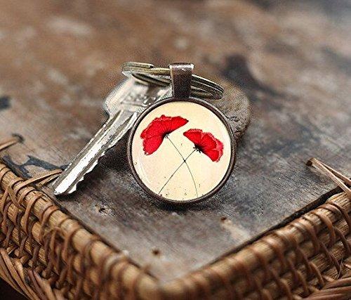 Red poppies Keychain, Poppies Keychain, poppies charm Keychain, flower Keychain, Poppy Flower Keychain for women ()