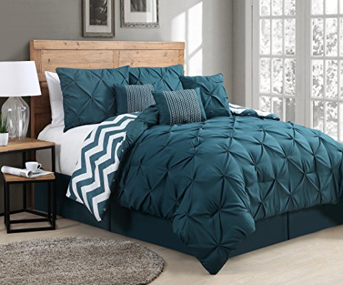 Avondale Manor 7-Piece Venice Pinch Pleat Comforter Set, King, Teal (7 Piece Venice)