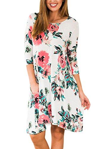 White 3 AlvaQ A Knee Women Sleeve 4 Floral T Length Line Shirt Casual Dress q4O54x