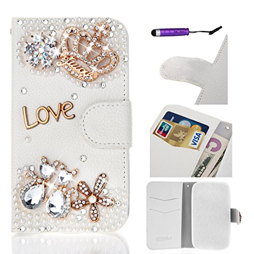 (Huawei Ascend Mate 2 case, Moonmini Handmade 3D Luxury Bling Crystal Cross Crown Rhinestone PU Leather Flip Wallet Case Cover for Huawei Ascend Mate 2 - Huawei Ascend Mate 2)