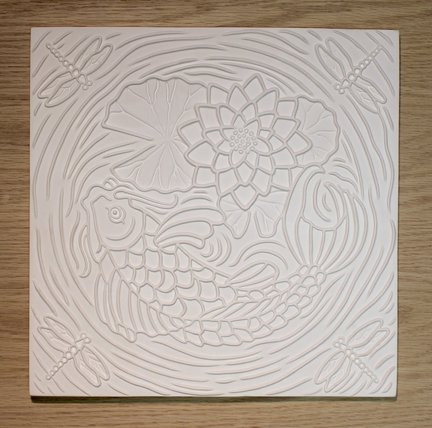 Koi Pond Texture Tile Mold for Glass Slumping 12 X 12 New Item Retails (Koi Pond Glass)