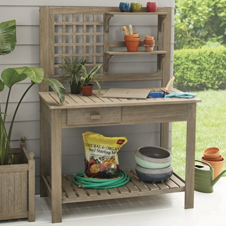 Better Homes and Gardens Camrose Farmhouse Outdoor Potting Bench (Seats Banquette)