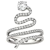 Forever Brilliant Round 5.0mm Moissanite Snake Ring-size 8, 1.14cttw DEW by Charles & Colvard