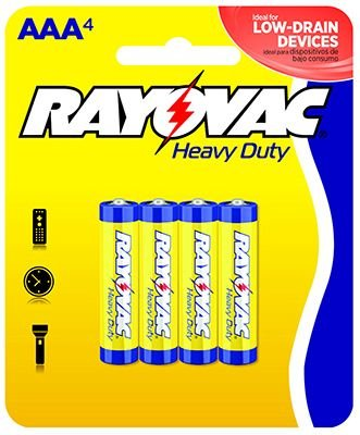 Heavy Duty Aaa Batteries (Rayovac Heavy Duty AAA Batteries, 3AAA-4D, 4-Pack)