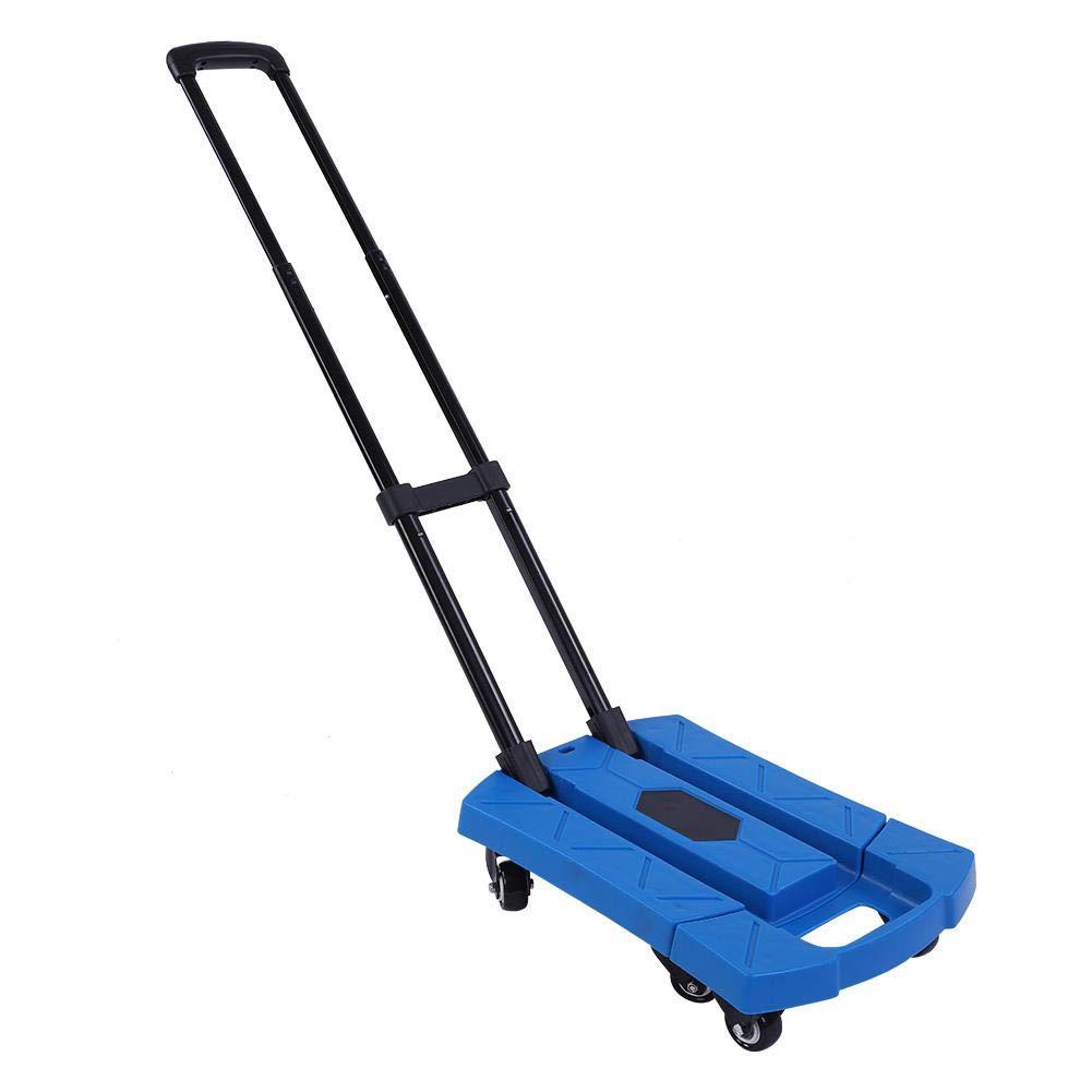 SOULONG Chariot de Transport D/ém/énagement Pliable /à 6 roulettes Pivotantes Chariot /à Bagages avec Poign/ée Longueur R/églable Diable Plateforme en M/étale et Plastique Charge de Capacit/é 400 kg