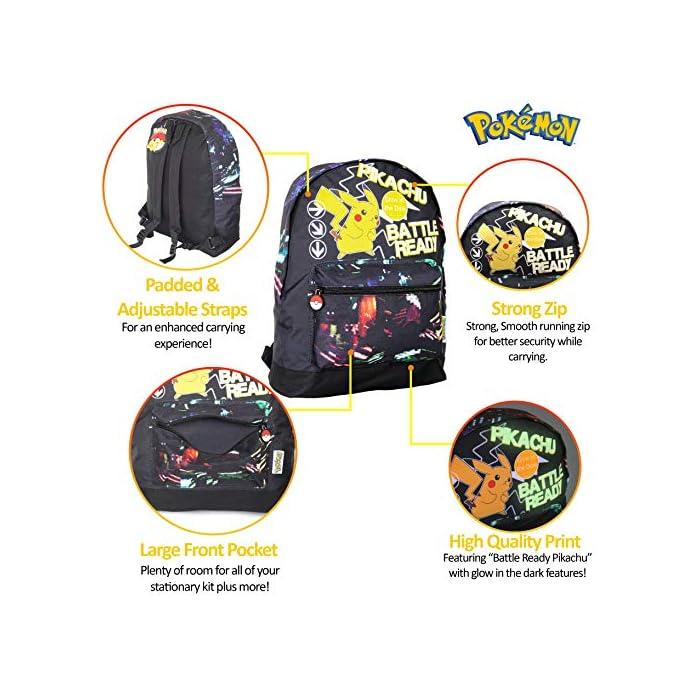 519 ✔ MOCHILA QUE BRILLA EN LA OSCURIDAD: el regalo definitivo para los fans de Pokemon. Esta mochila Pokemon para niños es perfecta para la escuela o de viaje y cuenta con un pequeño Pikachu listo para la batalla en la parte delantera. Esta bonita mochila negra para niños con correas ajustables para mayor comodidad, un bolsillo frontal con cremallera y compartimento principal y lona de alta calidad. ✔ BOLSA CON CORDÓN QUE BRILLA EN LA OSCURIDAD: puedes comprar nuestra bolsa de natación Pokemon con cordón que brilla en la oscuridad para niños. Esta gran bolsa de natación es muy práctica para llevar todas sus cosas durante viajes, vacaciones, sesiones de juego o fiestas de pijamas, como bolsa de natación para las clases de natación o como bolsa de polietileno. También hemos incluido una sección de malla para permitir el flujo de aire, perfecto para kits de deportes húmedos. ✔ BRILLAN EN LA OSCURIDAD MOCHILAS PARA NIÑOS: haz una declaración con nuestra divertida mochila que brilla en la oscuridad y bolsa de gimnasio. Nuestras bolsas que brillan en la oscuridad absorberán la luz solar durante el día y la escritura fluorescente brillará por la noche.