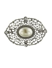 Silver-Tone Crystal Belle Epoch Filigree with Large Simulated Pearl Bar Pin