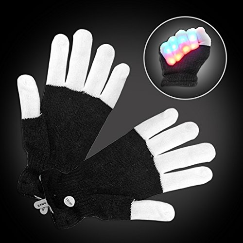 HNDTEK LED Gloves Super Cool For Party,Gloving,Dancing ,Event Light Show, & Large LED Gloves. (1, LED White Finger Black) -