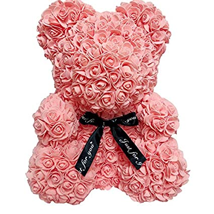 Suitable for Lover Girlfriend Lovely Cartoon Gift Anniversary Christmas Valentines Gift Auntwhale The Rose Teddy Bear Artificial Forever Rose